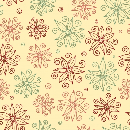 Beautiful doodle flowers seamless pattern  Vector