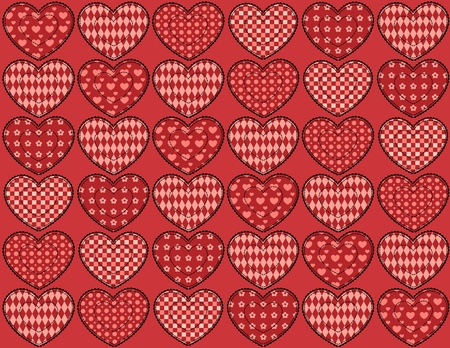 patchwork: Quilt hearts seamless pattern