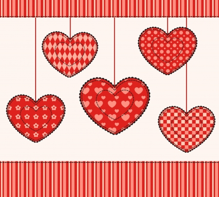 affectionate: Card with patchwork hearts  Illustration