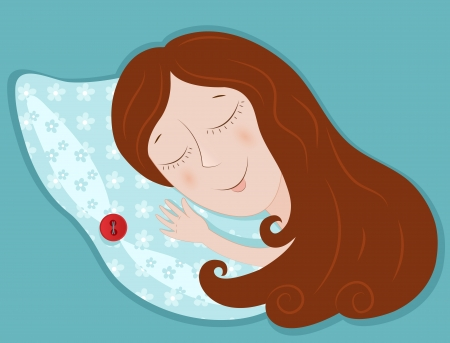 sleeping woman: New pillow  Illustration