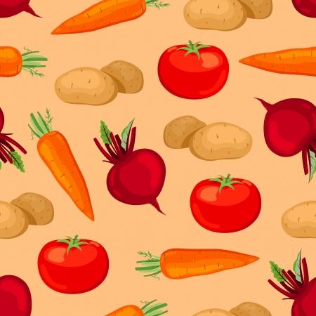 potato plant: Seamless vegetables pattern  Illustration