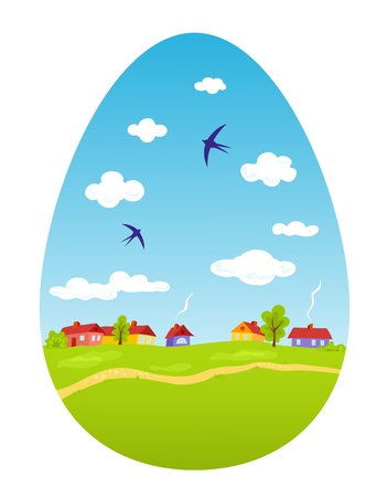 Spring landscape in the form of Easter egg Vector