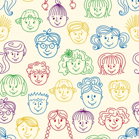 teenagers laughing: Seamles children faces pattern