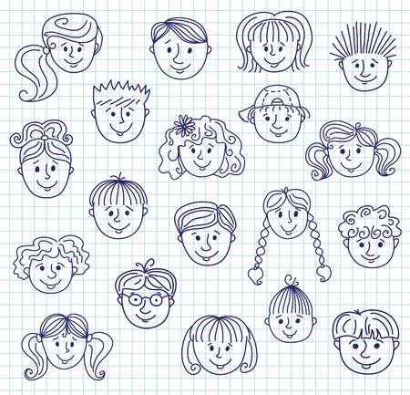 caricaturas de personas: Ñhildren Caras de bosquejo