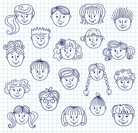Ã'hildren doodle gezichten