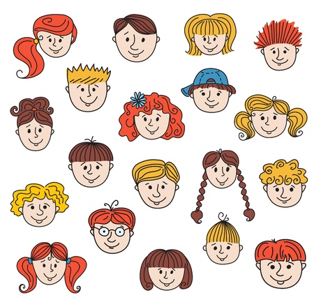 Ã'hildren faces Stock Vector - 19017779