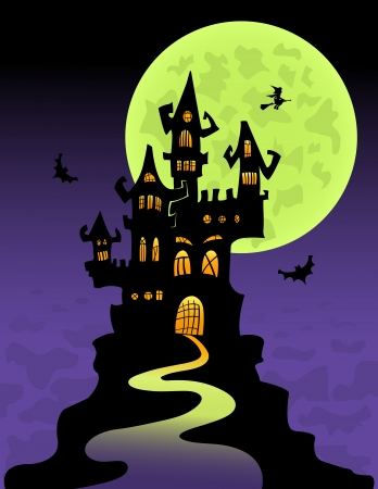 The scary castle at mountain top. Halloween illustration. Vector