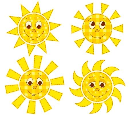 Set of patchwork happy suns. cartoon illustration. Isolated on white.