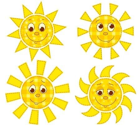 Set of patchwork happy suns. cartoon illustration. Isolated on white. Vector