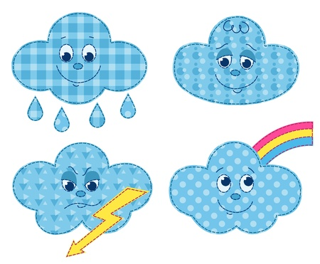 homespun: Conjunto de nubes patchwork. Dibujos animados ilustraci�n vectorial. Aislado en blanco.