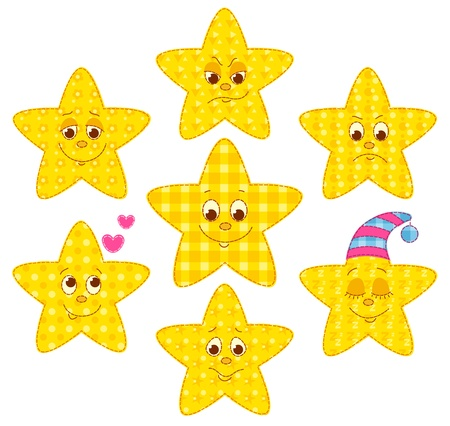 Set of patchwork stars. cartoon illustration. Vector