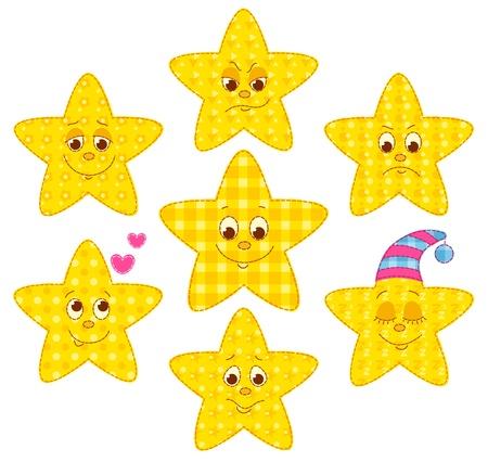 homespun: Set of patchwork stars. cartoon illustration.