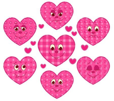 homespun: Conjunto de corazones patchwork. ilustraci�n de dibujos animados.