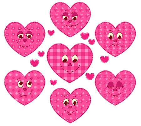Set of patchwork hearts. cartoon illustration. Stock Vector - 19118459