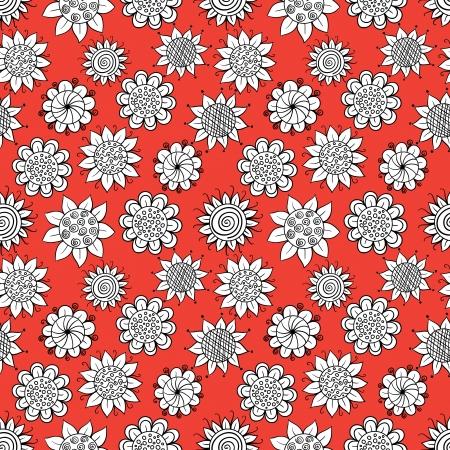 Doodle flowers pattern Stock Vector - 19611347