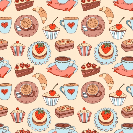 Coffee seamless cartoon pattern  Vector