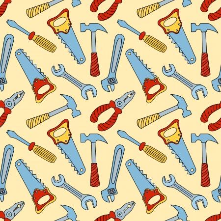 herramientas de construccion: Patrón de colores sin fisuras Herramientas