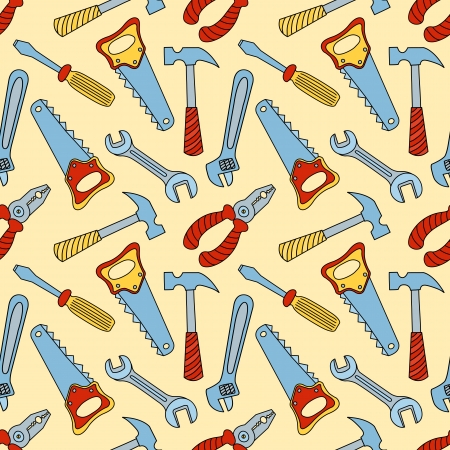 hand wrench: Tools seamless color pattern Illustration