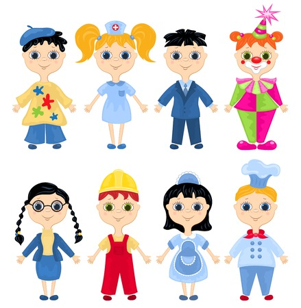 little chef: Set of profession cartoon characters. Vector illustration.