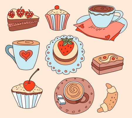 Coffee and cakes. Cartoon vector illustration. Ilustração