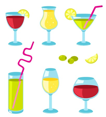 drinkware: Set of six different glasses for wine. Vector cartoon illustration.