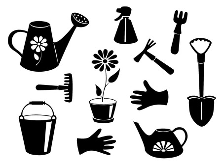 Silhouettes of garden tools. Vector illustration. Isolated on white. Vector