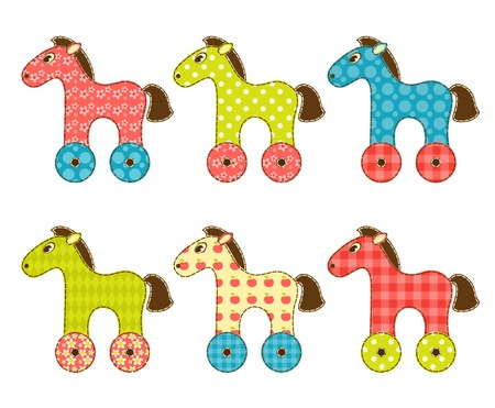 Set of patchwork horses. Isolated on white. Cartoon vector illustration. Vector