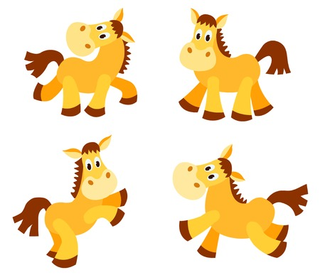 small group: Set of happy horses. Isolated on white. Cartoon vector illustration.
