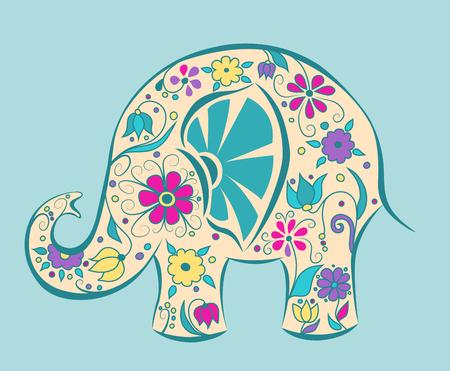 Blauwe olifant geschilderd door bloemen. Cartoon vector illustratie. Stock Illustratie