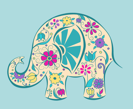 Blue elephant painted by flowers. Cartoon vector illustration.