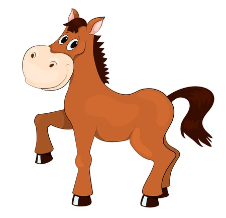 hoof: Brown horse. Isolated on white. Vector cartoon illustration.