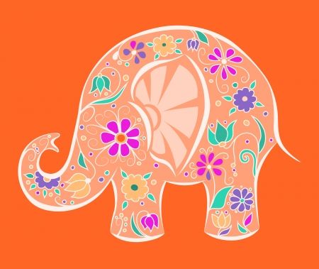 pachyderm: Orange elephant painted by flowers. Cartoon vector illustration.