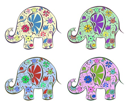 Set of elephants painted by flowers. Isolated on white. Cartoon vector illustration. Vector