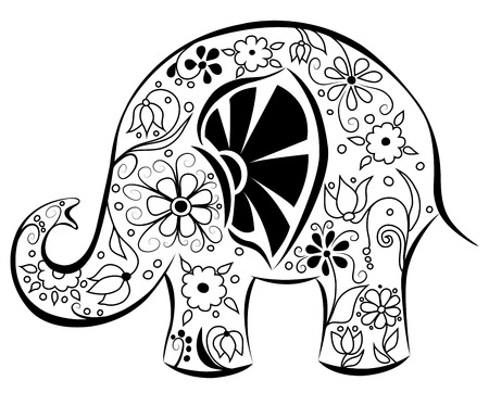 Silhouette of an elephant painted by flowers. Black on white. Vector cartoon illustration. Vector