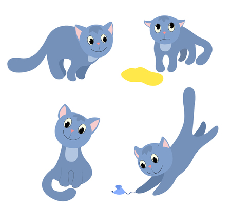 Set of happy cats. Isolated on white. Cartoon vector illustration. Vector