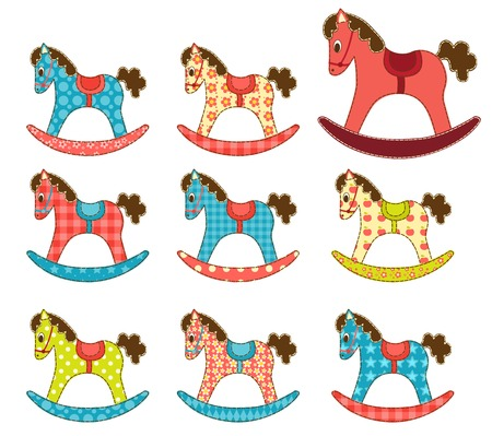 Set of patchwork horses. Template for your design. Isolated on white. Cartoon vector illustration.