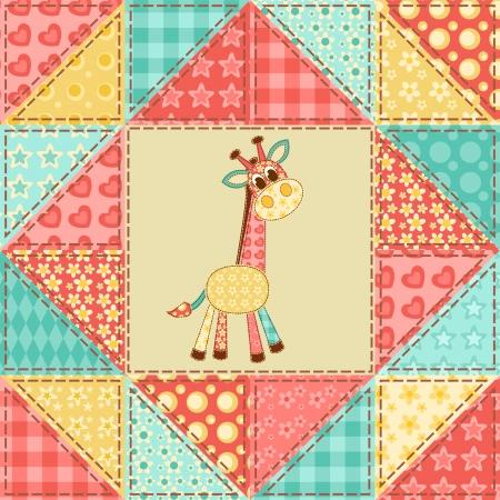homespun: Giraffe Vintage mosaico sin fisuras de fondo Vector Vectores