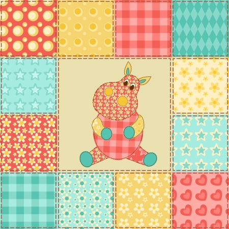 Hippopotamus  Vintage patchwork seamless pattern  Vector background  Vector