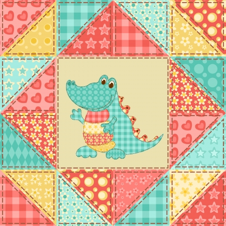 homespun: Crocodile  Vintage patchwork seamless pattern  Vector background