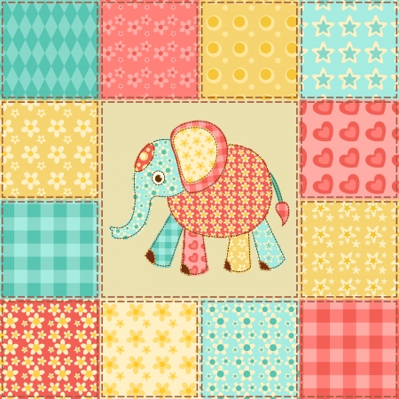 Elephant  Vintage patchwork seamless pattern  Vector background  Vector