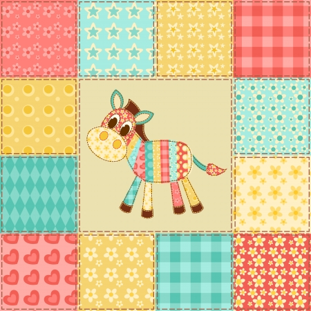 Zebra  Vintage patchwork seamless pattern  Vector background  Vector