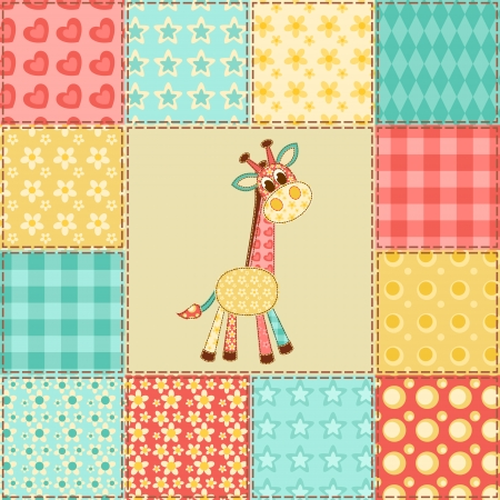 Giraffe  Vintage patchwork seamless pattern  Vector background  Vector