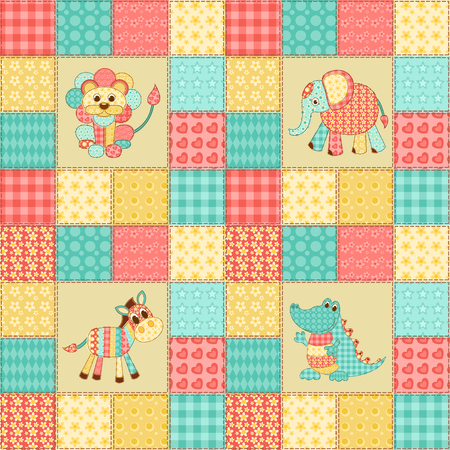 African animals. Vintage patchwork seamless pattern. Children's vector background.