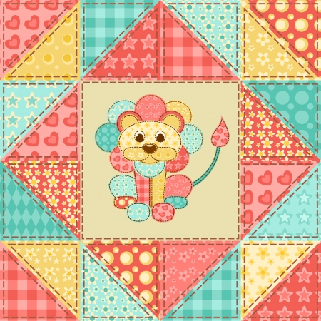 homespun: Lion. Vintage patchwork seamless pattern. Vector background.