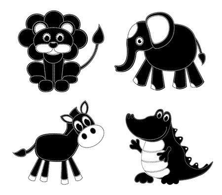 homespun: Siluetas animales patchwork. Aislado en blanco. Dibujos animados ilustraci�n vectorial.