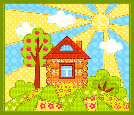 patchwork landscape: The house on the hill. Patchwork picture. Vector children illustration. Illustration