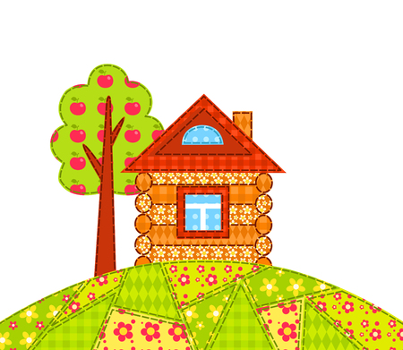 homespun: The house on the hill isolated on white. Patchwork picture. Vector children illustration. Illustration