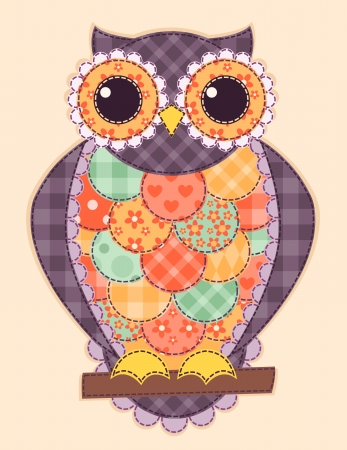 Colored patchwork owl. Vector quilt illustration. Vector