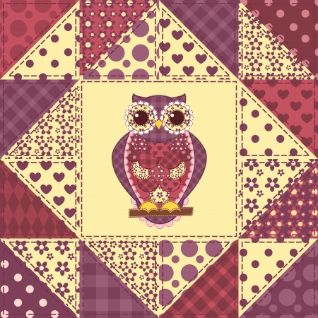 patchwork: Seamless patchwork owl pattern. Illustration