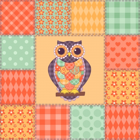 Seamless patchwork owl pattern.  Vector